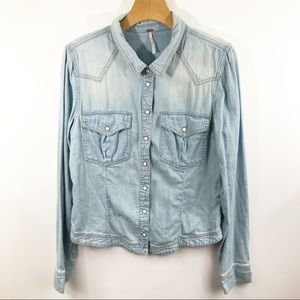 Free People Chambray Button Up W/Covered Button